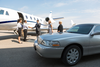 business professionals at airport